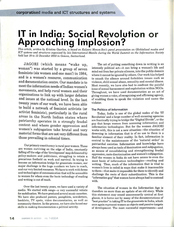 In Progress - Women in Action 2004-1 - IT in India: Social
